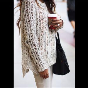 H&M open crochet beige sweater